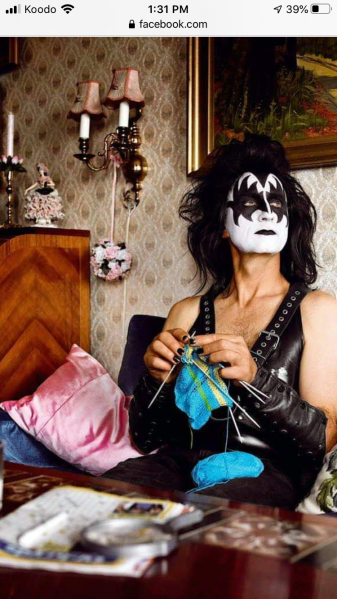 gene simmons learns to knit